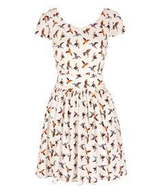 Loving this White Hummingbird Fit & Flare Dress on #zulily! #zulilyfinds