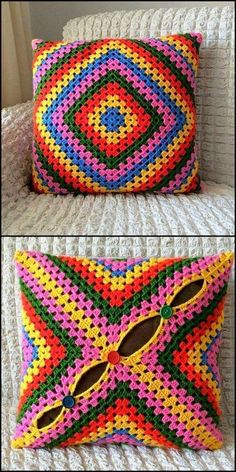 Fascinating Crochet Pattern Ideas To Try – DIY Rustics graceful designs of crochet covers The Effective Pictures We Offer You About Crochet pillow A. Crochet Cushion Cover, Crochet Pillow, Crochet Cushions, Granny Square Crochet Pattern, Crochet Motif, Crochet Designs, Crochet Crafts, Yarn Crafts, Crochet Projects
