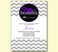 50th Birthday Invitations 65th Party Invite Purple Gray
