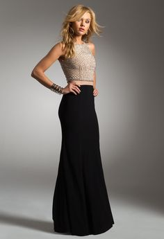 TWO-TONE BEADED BODICE TWO-PIECE #black #longdress #evening dress #camillelavie #chic #fashion #homecoming #twotone #beaded