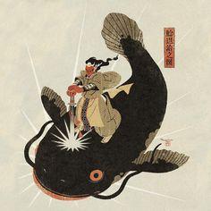 """367 Likes, 3 Comments - Yoko Tanji : 丹地陽子 (@yokotanji) on Instagram: """"#illustration #artwork #namazu #japanesemythology"""""""
