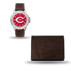 Cincinnati Reds Brown Watch/Wallet Gift Set