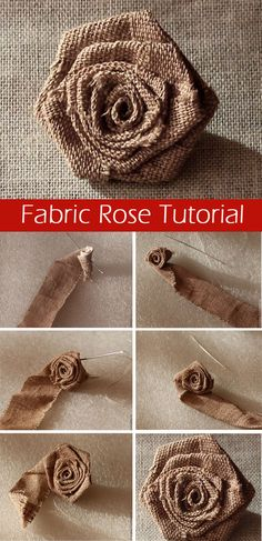 Fabric Rose Tutorial How easy and quick to sew a rose from a fabric or satin ribbon. DIY Tutorial : Fabric Rose Tutorial How easy and quick to sew a rose from a fabric or satin ribbon. Burlap Crafts, Fabric Crafts, Sewing Crafts, Sewing Projects, Craft Projects, Sewing Diy, Easy Projects, Craft Tutorials, Sewing Hacks