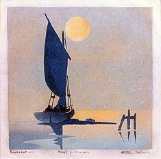 """Ethleen Palmer (1908-1965)  Boat and Moon, 1933. Colour linocut, annotated """"linocut"""", dated, titled and signed in margin below, 15.3 x 15.3cm.  Also known as """"Evening, North Harbour."""""""