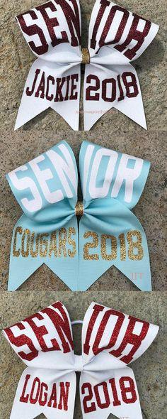 $14. 3x7x7 Glitter Senior Bow Texas Sized Cheer Bow Your Choice of Colors. Custom cheer bows, senior gifts, #cheerleading #ad