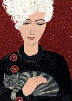 'Comfortable Cat' By Painter Dee Nickerson. Blank Art Cards By Green Pebble. www.greenepbble.co.uk