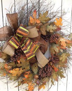 Burlap Fall WreathFall Door WreathBurlap Leaf Wreath by Keleas