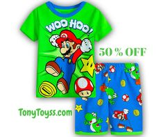 e2e1bf348ff ♥️New Casual Cartoon Cotton Super Mario Boys sets♥ 🍀Size 2-7