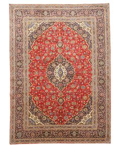 EORC X33057 Red Hand Knotted Wool Kashan Rug (10'2 x 14'3)