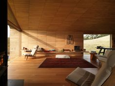 On a working sheep farm on Tasmanias North Bruny Island, John Wardle Architects Shearers Quarters is a warm timber-lined structure clad in corrugated iron. Residential Interior Design, Interior Architecture, John Wardle, Bruny Island, Timber Ceiling, Agricultural Buildings, Space Interiors, Cabin Homes, The Locals