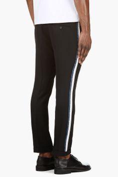 BALMAIN Black Slim Side Stripe Fit Trousers