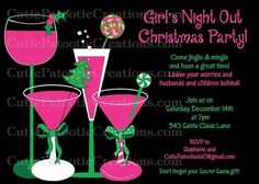 Girls Night Out Christmas Party Invitation - Printable or Printed