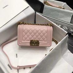2f3941114f9a Chanel Original Caviar Leather Small Le Boy Flap Bag in Pink 20cm Chanel  Boy Bag,