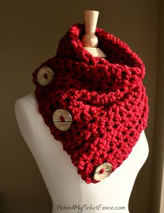 The Original BOSTON HARBOR SCARF Warm, soft & stylish scarf with 3 large coconut buttons - Cranberry