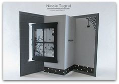 Nicole's Spooky Pop Out Swing Card that's a Shaker too! Happy Scenes, Happy Haunting dsp, Hearth & Home Thinlits, Brick Wall embossing folder - all from Stampin' Up!