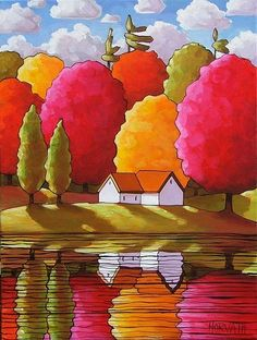 Abstract Autumn, Cathy Horvath Buchanan Source by marisollimiagom Landscape Art, Landscape Paintings, Naive Art, Whimsical Art, Painting Inspiration, Art Lessons, Painting & Drawing, Watercolor Paintings, Art Drawings