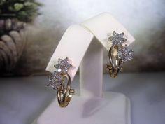 Sterling Silver Earrings, Gold Vermeil Earrings, Flower CZ Earrings, Leverback Earrings, Pierced Earrings, Flower Earrings, Vintage Earrings by CarolsVintageJewelry on Etsy
