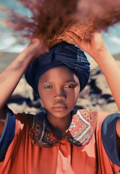 Portrait of an Afar tribe girl with beaded necklace, Afar