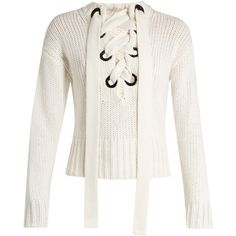 Joseph Lace-front cashmere sweater found on Polyvore featuring tops, sweaters, jumpers, ivory, lace up front top, white top, textured sweater, cashmere sweater and white sweater
