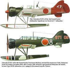 Yokosuka (Allied reporting name 'Glen') was an Imperial Japanese Navy reconnaissance seaplane transported aboard,and launched from, Japanese submarine aircraft carriers such as the during World War II. Navy Aircraft, Ww2 Aircraft, Aircraft Carrier, Military Aircraft, Float Plane, Imperial Japanese Navy, Aircraft Painting, Flying Boat, Ww2 Planes