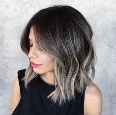 Image result for hairstyles, dark hair with blonde ends