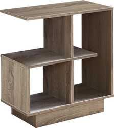 This contemporary and architecturally inspired side accent table combines modern style with storage options in one versatile piece. The rectangular tabletop is spacious enough to place your tablet, book or drink. Affordable Furniture Stores, Chair Side Table, Particle Board, Open Shelving, Taupe, Dark Beige, Contemporary Design, Small Spaces, Home Furniture