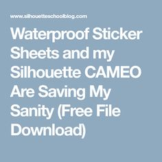 Waterproof Sticker Sheets and my Silhouette CAMEO Are Saving My Sanity (Free File Download)