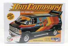"""The 1982 Dodge Van """"Bad Company"""" truck model kit is made byMPC in 1/25 scale.- Loaded with optional custom parts - Roof Wing Spoiler - Detailed chassis - Optio"""