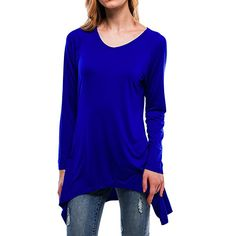 813284a954f58 Amazon.com: ShiZiBan Plus Size Women's Casual Swing Loose Fit Comfy  Flattering Tunic Tops