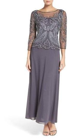Shop for Embellished Mesh Gown by Pisarro Nights at ShopStyle. Jacket Dresses Formal, Dressy Dresses, Petite Dresses, Plus Size Dresses, Halter Dresses, Fall Dresses, Mother Of The Bride Suits, Mother Of Groom Dresses, Mothers Dresses
