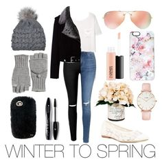 """""""Winter to Spring"""" by evelyngrace16 ❤ liked on Polyvore featuring Topshop, MANGO, La Bête, Inverni, Calypso St. Barth, Lancôme, CLUSE, Soludos, MAC Cosmetics and Casetify"""