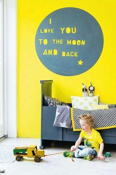 Eye-catching canary yellow wall  - 10 Fun Wall Decor Ideas | Tinyme Blog