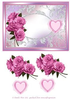 Pnk roses and Heart valentines anniversary card topper on Craftsuprint - Add To Basket!