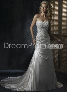 Gorgeous A-line Strapless Elastic Woven Satin Ruffle Wedding Dresses