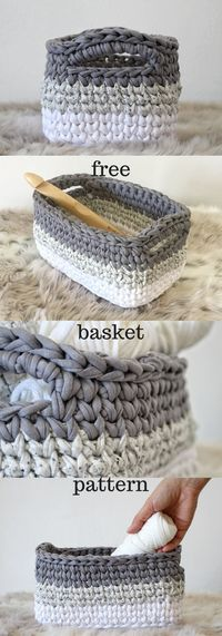 Crochet basket pattern using t-shirt yarn. This is the perfect little basket to store my crafts, my bathroom stuff, and baby things!