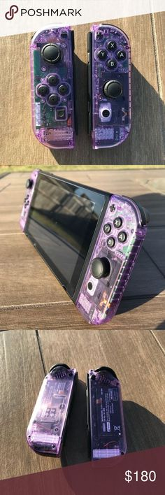 Custom Nintendo Switch Atomic-Purple Joy-Cons Custom transparent Atomic-Purple L/R Joy-Con controllers for the Nintendo Switch. The controllers also show up as having a purple color within the Nintendo Switch's software. Comes with the original box and bl Nintendo Switch Accessories, Gaming Accessories, Nintendo Switch Case, Mundo Dos Games, Gaming Room Setup, Game Room Design, Gamer Room, Playstation, Xbox 360