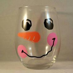Tipsy snowman wine glass.