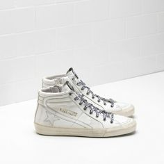 2016 GGDB Womens | Golden Goose Slide Sneakers Sale - 2017 Golden Goose Deluxe Womens Slide Sneakers Cheap In White Calf Leather With White Star
