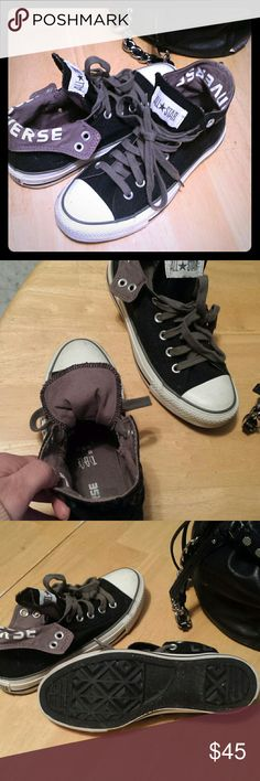 Converse. New converses. Mid tops, flips down.  Says size 7 but are a women's 8 Converse Shoes Sneakers