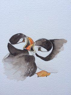 """Jenny Duck, """"Smooch,"""" (watercolor, 8 x 8, $50)"""