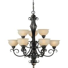 Forte Lighting 9 Light Chandelier with Rustic Umber Glass Shades