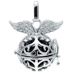 Klangkugel schwarz mit Flügeln - Engelsflüsterer - inkl. 70 cm Halskette