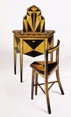 Art Deco Abel Faidy Telephone Stand ca. 1927 Ebonized Walnut and Maple Marquetry With Mechanized Doors.