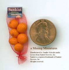 Licensed Sunkist Oranges in Red Mesh Bag in 1 Inch Scale for Dollhouse Kitchen or Grocer.via Etsy.