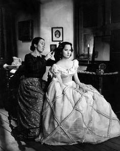 Wuthering Heights, 1939 -Merle Oberon as Catherine Earnshaw. Flora Robson as Ellen.