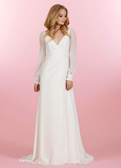 Blush by Hailey Paige wedding gown with sheer sleeves and jeweled cuff detail