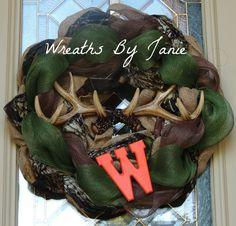 Hunters Wreath - Camouflage Wreath - Monogram Wreath - Deer Antler Wreath - Burlap and Mesh Hunter Wreath on Etsy, $40.00