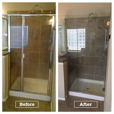 "Before and After images of a Semi-Frameless shower changed to a Frameless Shower Enclosure.  The Frameless Enclosure has 3/8"" clear glass, Door, Notched Panel, and Return with 6"" BM handle, and Brushed Nickel hardware finish"