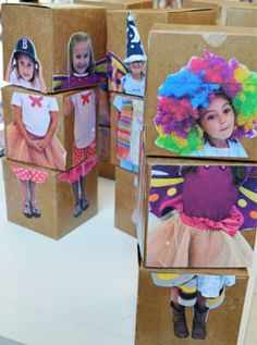 Mix & Match Dolls // Up Cycled Box Dolls – Kids Art Classes, Camps, Parties and Events – Small Hands Big Art For carnival, each student will create their own costume, using wooden boxes. Diy For Kids, Crafts For Kids, Arts And Crafts, Big Kids, Kids Art Class, Preschool Art, Art Club, Art Plastique, Elementary Art