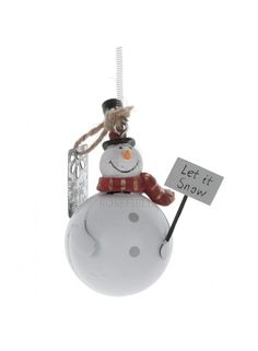 Hanging Tin Snowman With Spring 8.5cm @ rosefields.co.uk